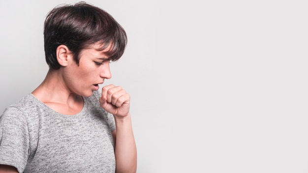 side-view-young-woman-coughing-against-gray-background_23-2147889083